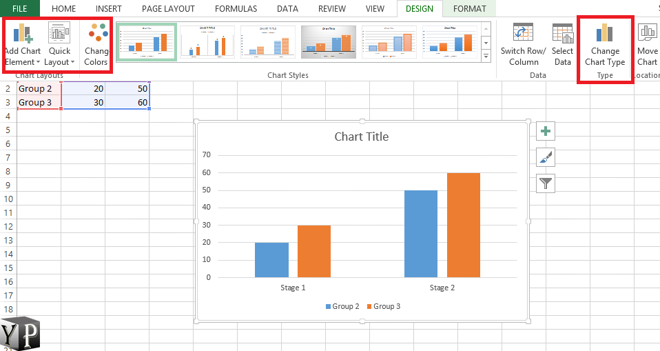 change graph type excel
