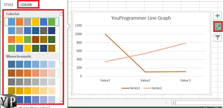 change line graph lines color