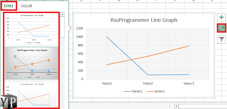 change the graph design to be shown
