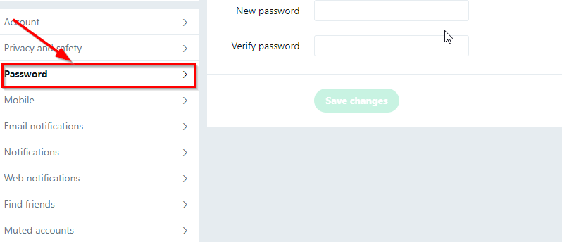 change twitter password button