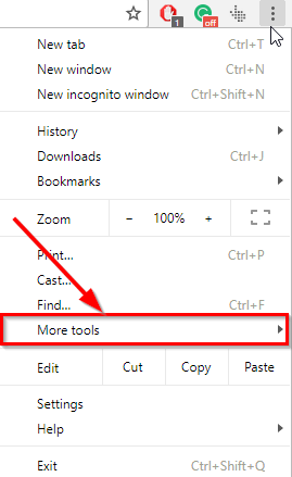 selecting more tools from chrome menu