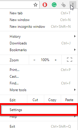 chrome settings option in menu