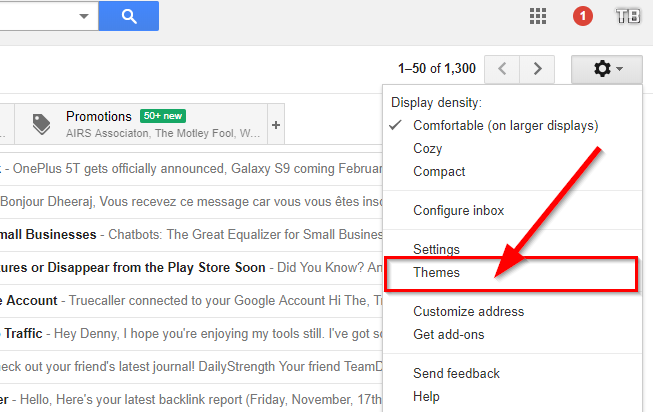 click theme option gmail