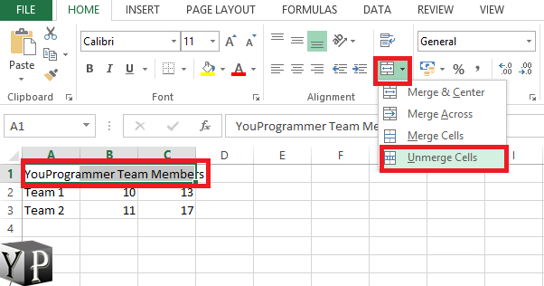 unmerge cells in excel
