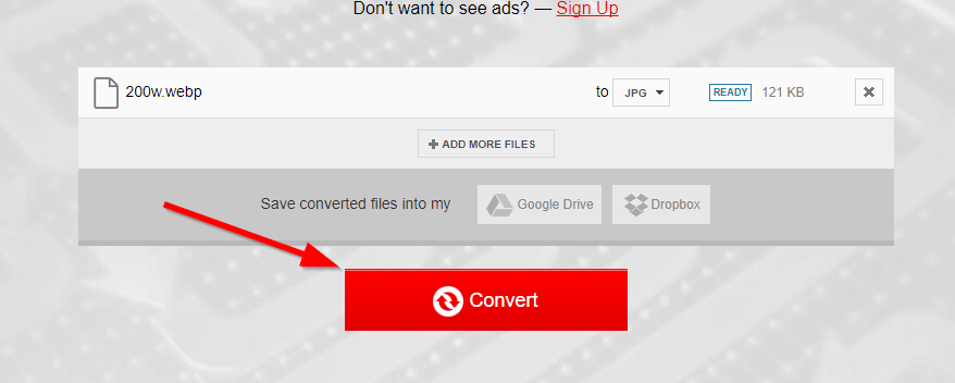 convert webp to jpg button convertio