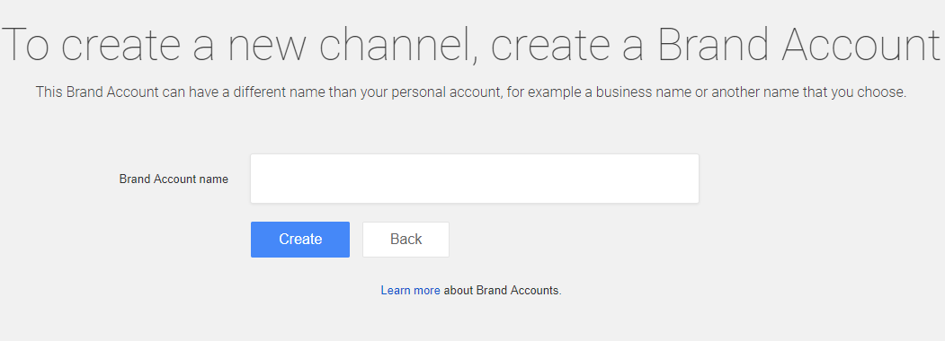 create brand account youtube