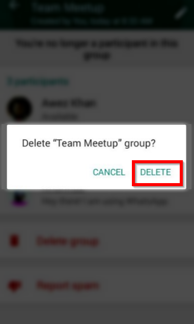 delete whatsapp group confirmation