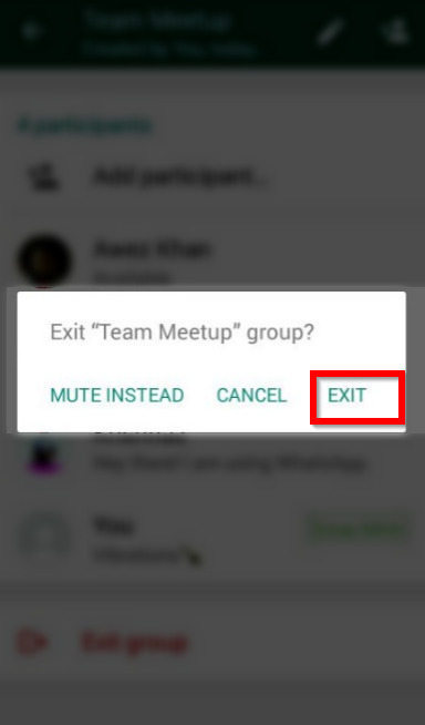 exit whatsapp group confirmation