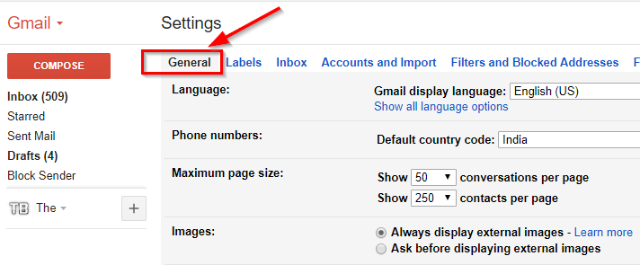 click the general section gmail settings