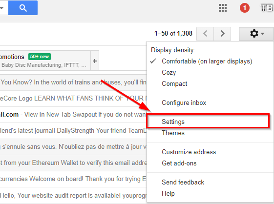 click on the settings icon in gmail