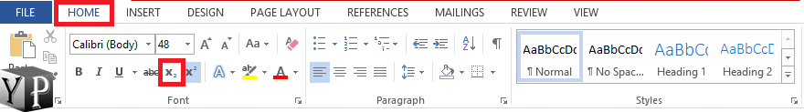 how to do subscript in word