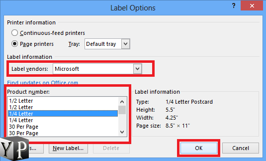 how to create custom labels in word
