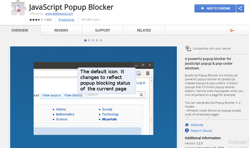 javascript popup blocker chrome