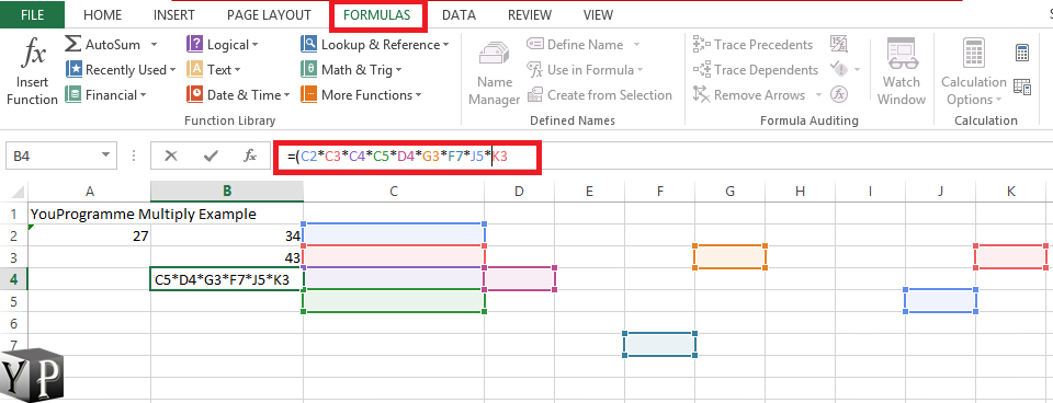 multiply by reference excel