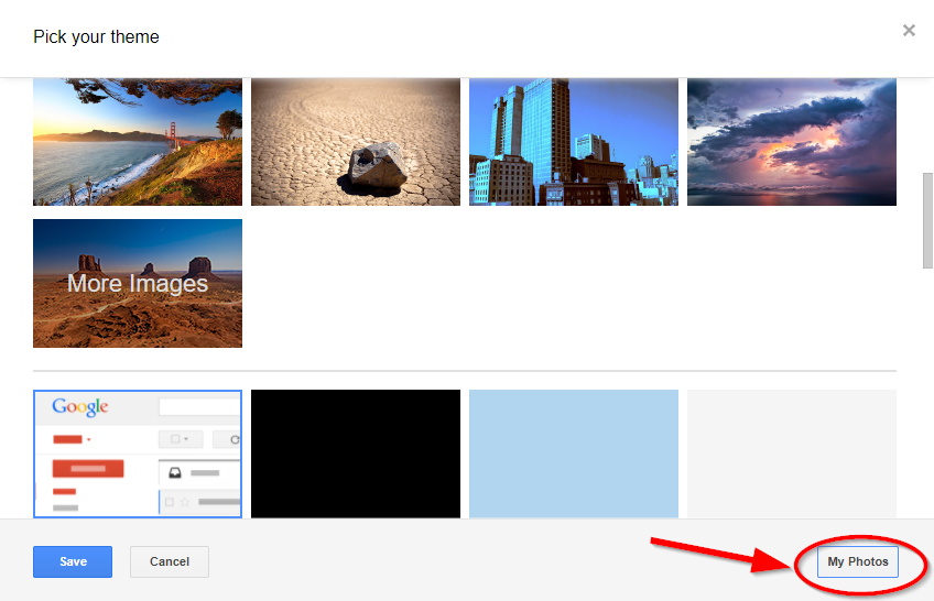 my photos option gmail themes