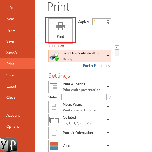 notes print with powerpoint