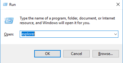open file explorer through Run windows 10