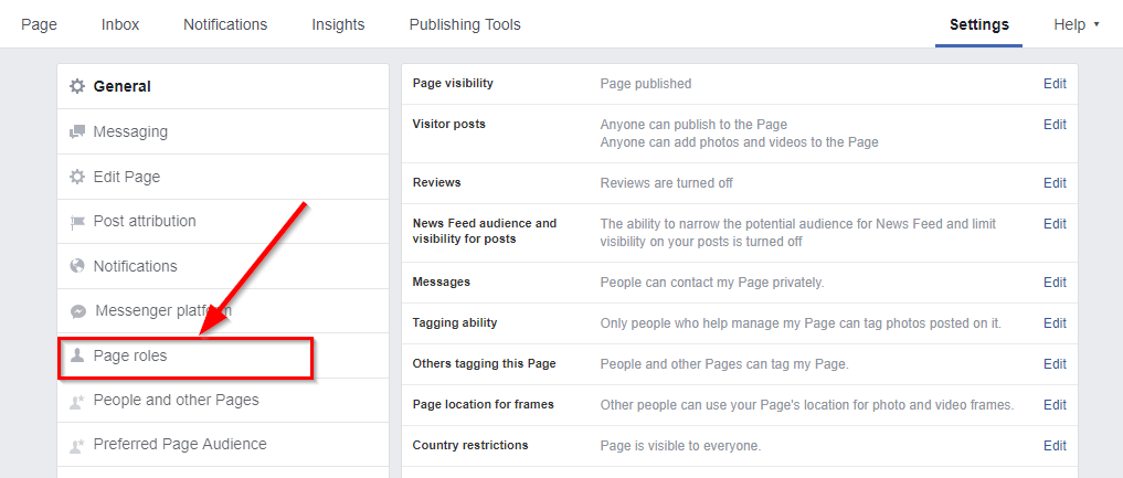 page role facebook page
