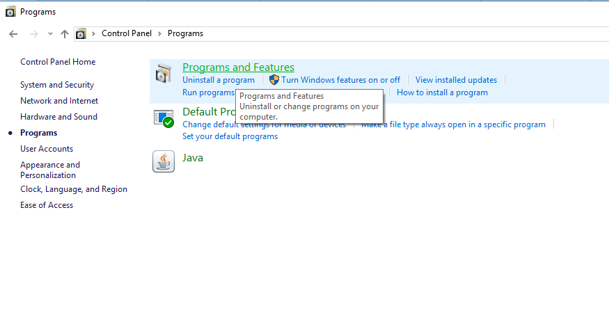 programs and features on control windows