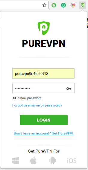 purevpn chrome extension login