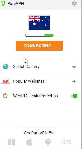 select country for purevpn extension