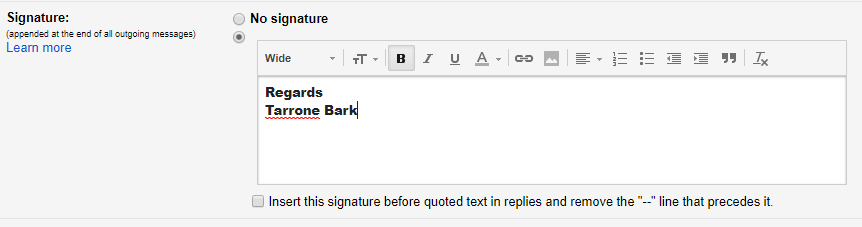 set up signature in gmail