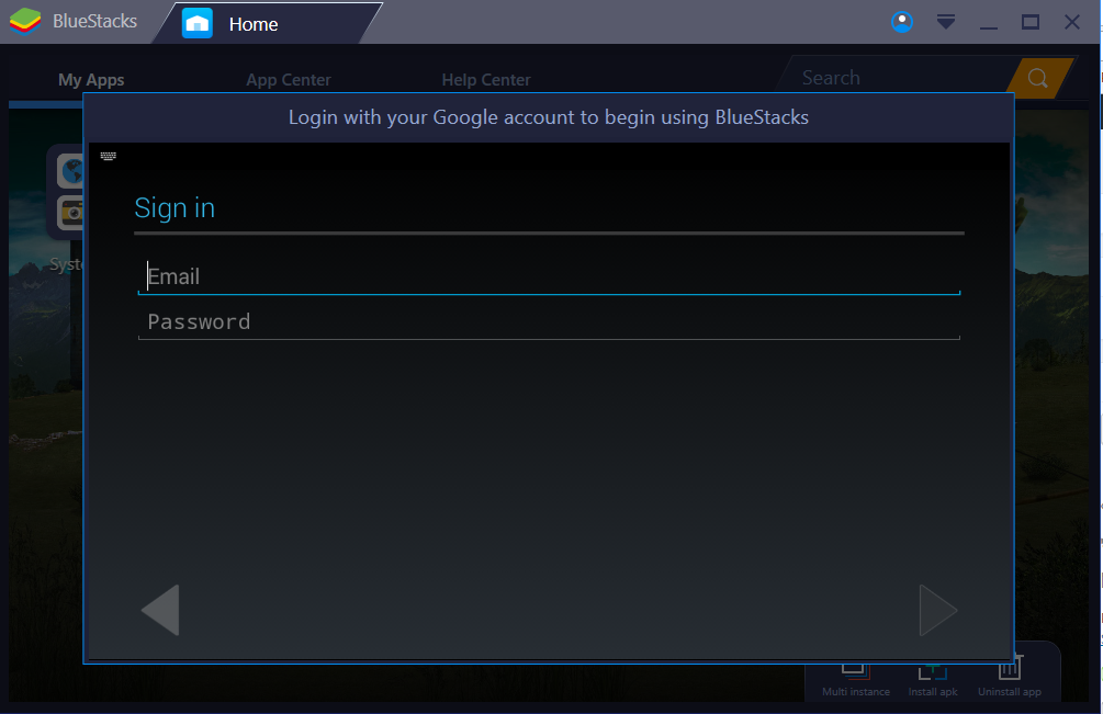 sign in google account bluestack 3