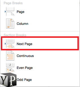 start page numbering from specific page in word