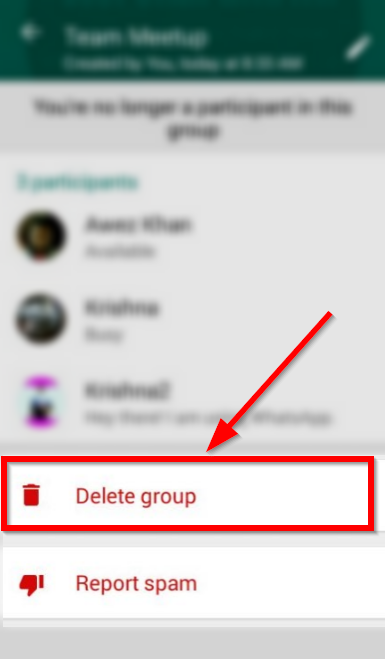 whatsapp delete group