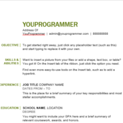 word resume format