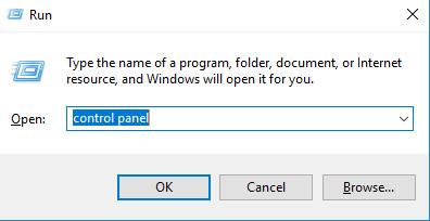 control panel in run windows