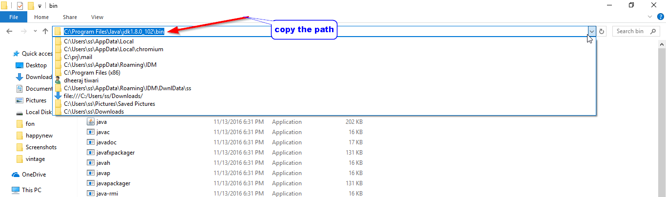 copy path of java idk windows