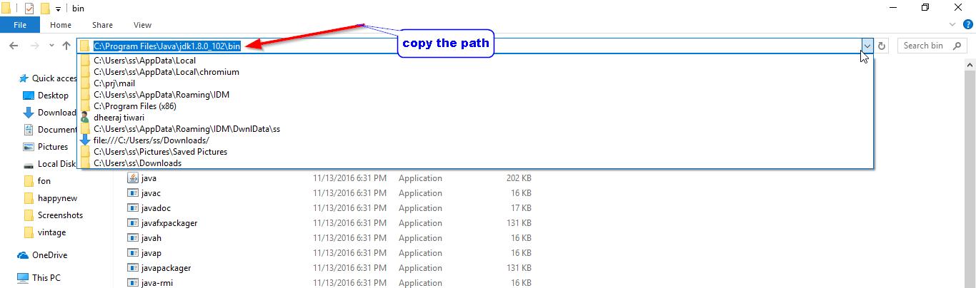 copy path of java idk windows