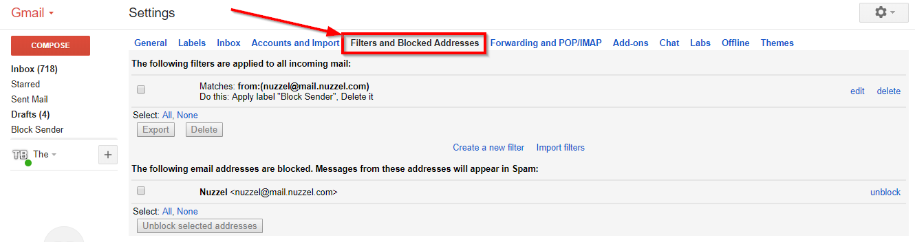 filters options of gmail