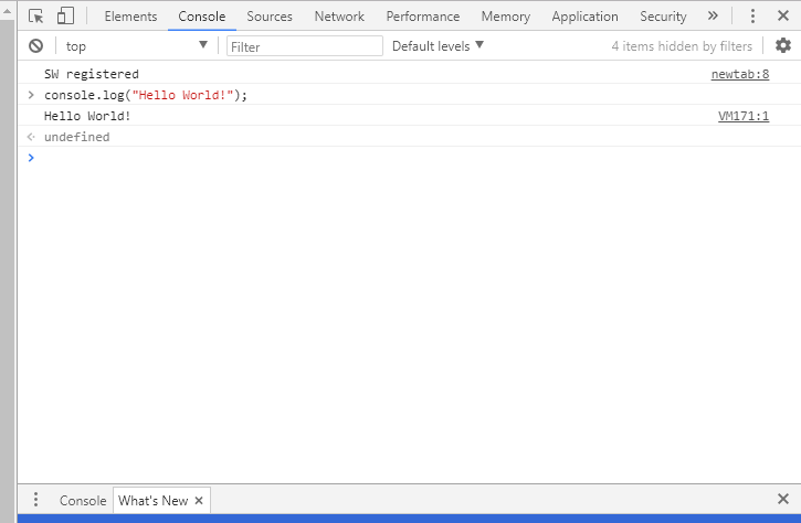 hello world javascript code inside chrome console