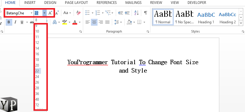 word set default font and size