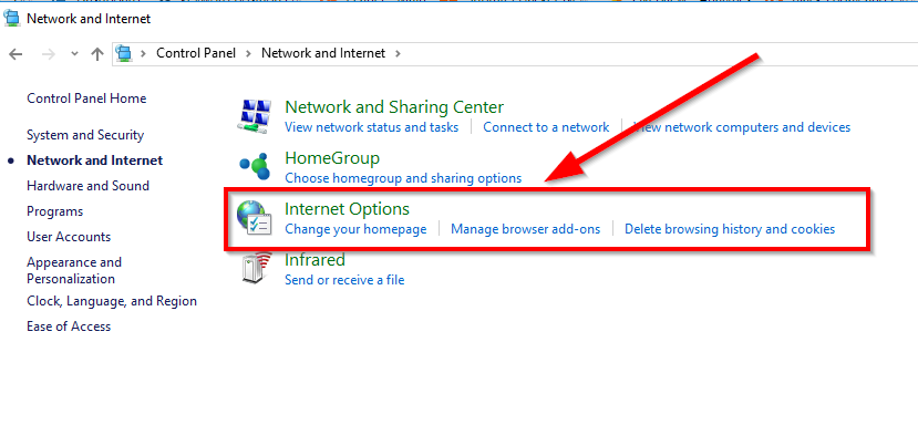 internet options under network and internet