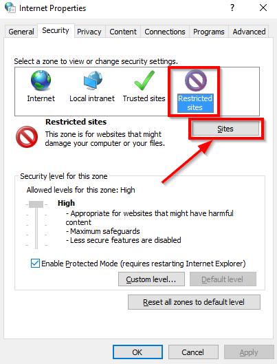 internet properties windows restricted sites