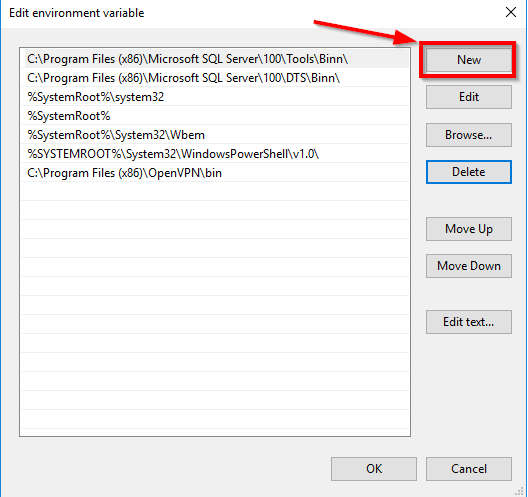 new environment variable in windows