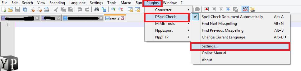 open the dspellchecker plugin settings notepad++