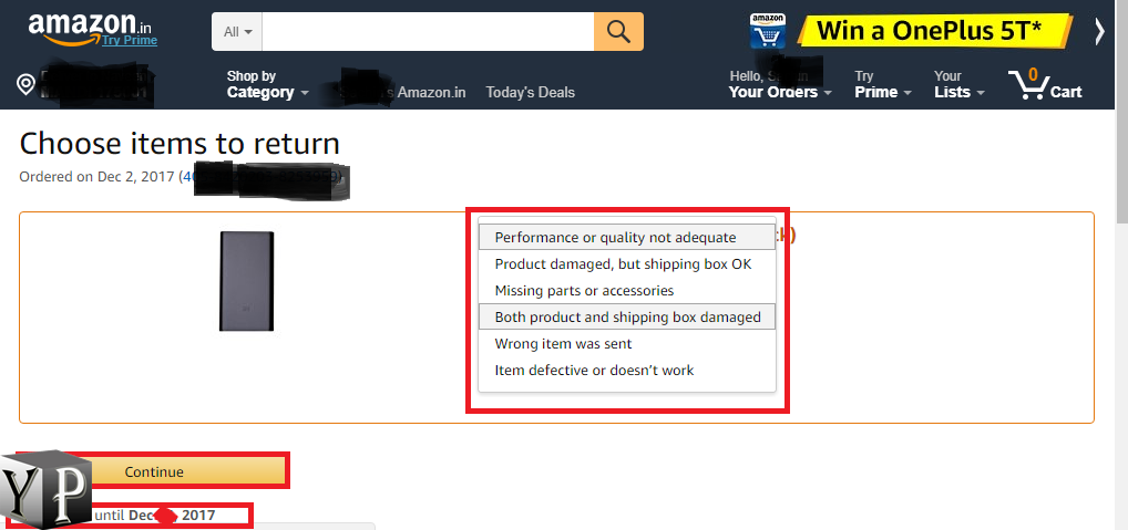 return amazon product