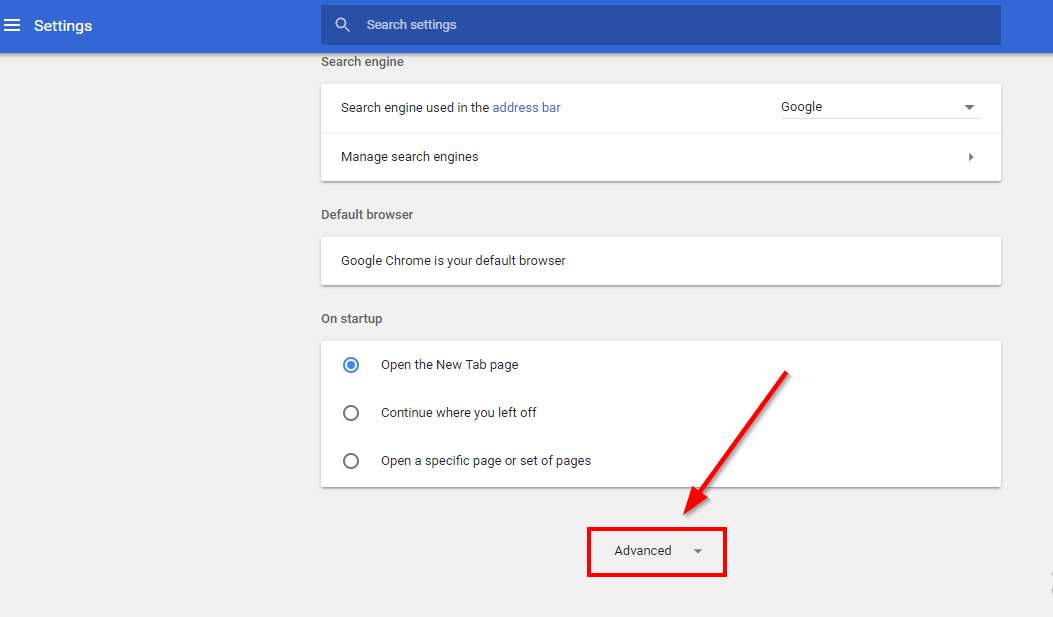 Advanced settings chrome browser