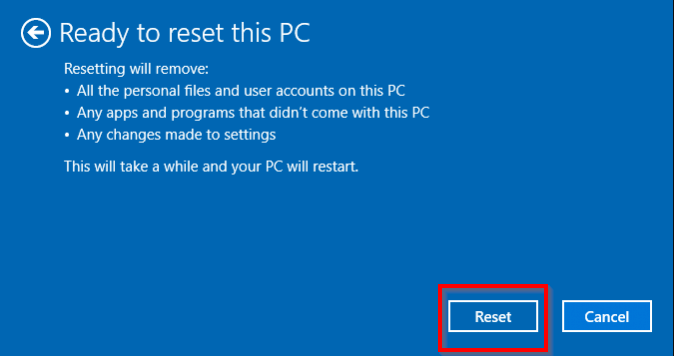 click reset windows 10 factory settings