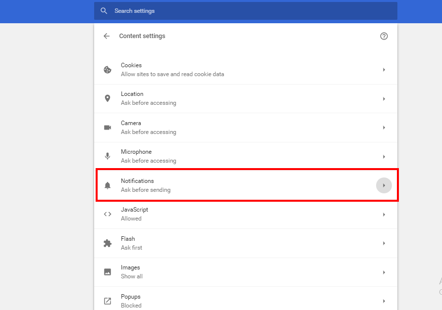 content settings page chrome notifications