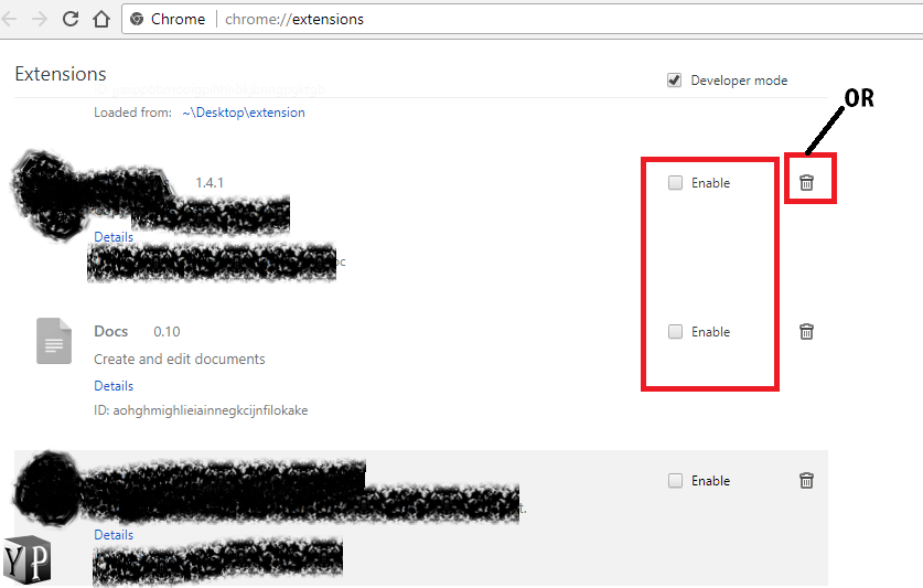 delete or disable chrome extensions