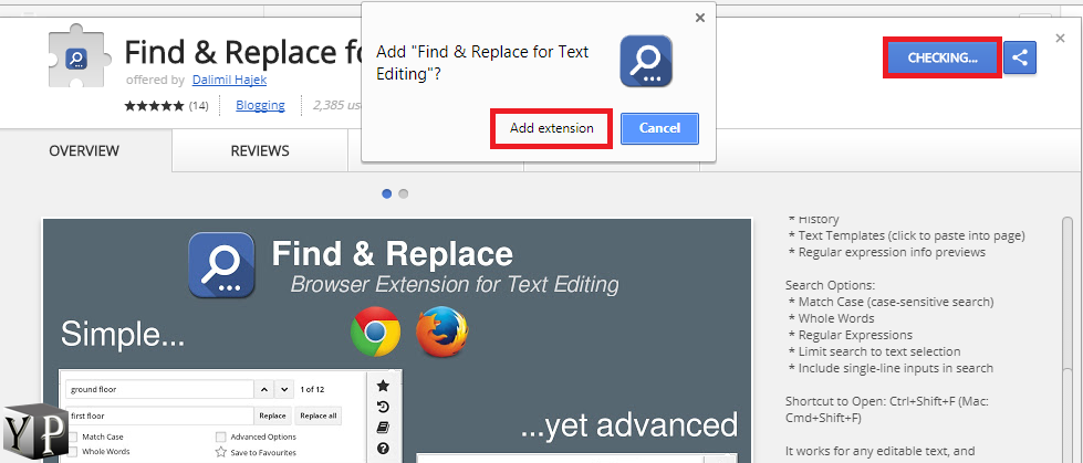 how to find and replace in chrome