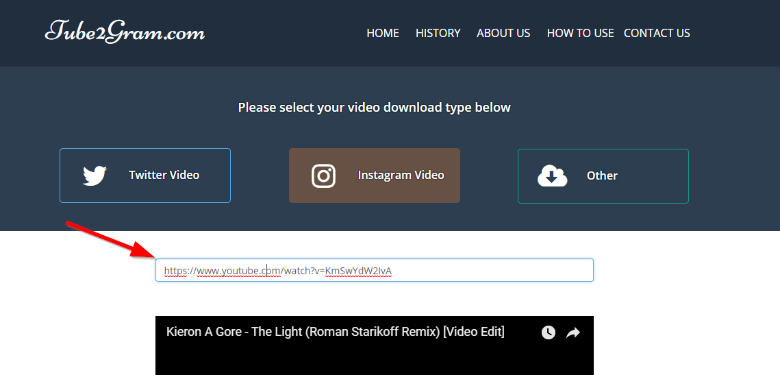 paste youtube video url on tube2gram url box
