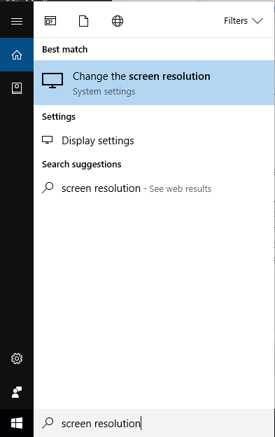 search screen resolution windows 10