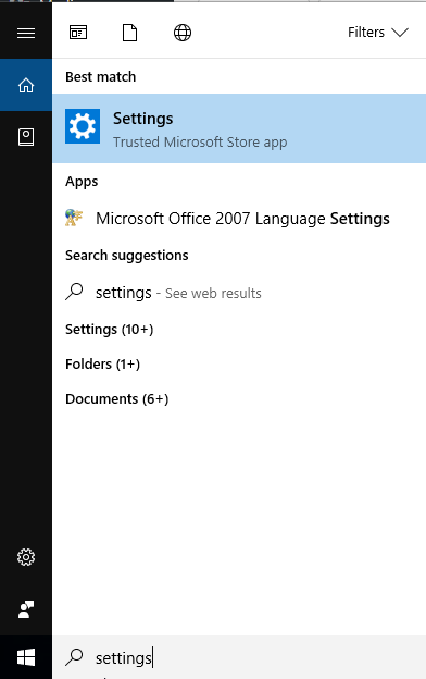 settings in search bar windows 10
