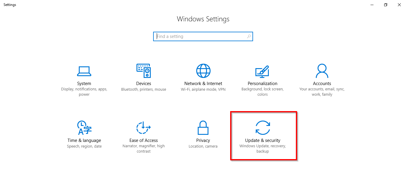 settings window in windows 10